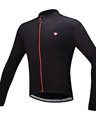 cheap -SANTIC Men's Cycling Jersey Bike Jersey Top Thermal / Warm Fleece Lining Breathable Sports Polyester Winter Black Clothing Apparel Bike Wear Advanced Sewing Techniques / Stretchy
