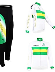 cheap -Customized Cycling Clothing Men's Women's Long Sleeve Cycling Jersey with Tights Australia National Flag Bike Clothing Suit Breathable Waterproof Zipper Reflective Strips Polyester / High Elasticity