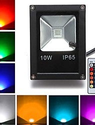 cheap -10W RGB LED Floodlight Outdoor Lights 1 leds High Power LED Remote-Controlled Black AC 85-265V