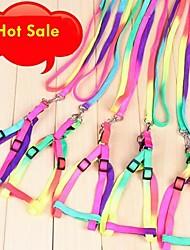 cheap -Cat Dog Harness Leash Slip Lead Adjustable / Retractable Cosplay Nylon Rainbow