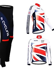 cheap -Customized Cycling Clothing Men's Women's Long Sleeve Cycling Jersey with Tights British National Flag Bike Jersey Clothing Suit Breathable Waterproof Zipper Reflective Strips Winter Fleece