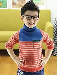 cheap -Striped Long Sleeve Regular Cotton Sweater & Cardigan Screen Color