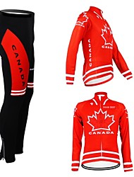 cheap -Customized Cycling Clothing Men's Women's Long Sleeve Cycling Jersey with Tights Canada National Flag Bike Jersey Clothing Suit Breathable Waterproof Zipper Reflective Strips Polyester