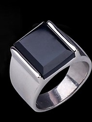cheap -Men's Band Ring Statement Ring Ring Synthetic Sapphire Black Gemstone Silver Synthetic Gemstones Stainless Steel Titanium Steel Statement Vintage Casual Wedding Gift Jewelry