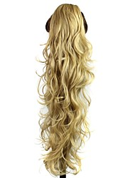 cheap -claw clip synthetic 28 inch golden blonde long curly ponytail