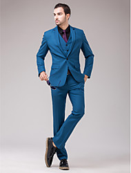 cheap -Blue Slim Fit Suit - Slim Notch Single Breasted One-button / Suits