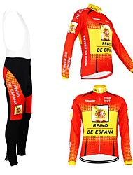 cheap -Customized Cycling Clothing Men's Women's Long Sleeve Cycling Jersey with Bib Tights Spain National Flag Bike Jersey Clothing Suit Thermal / Warm Fleece Lining Breathable Waterproof Zipper Reflective