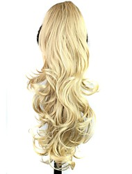cheap -claw clip synthetic 25 inch blonde long curly ponytail