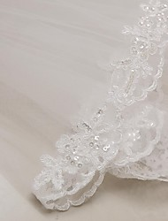 cheap -Two-tier Lace Applique Edge Wedding Veil Elbow Veils with Appliques 31.5 in (80cm) Tulle