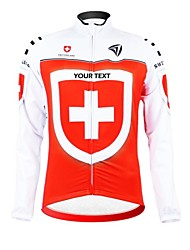 cheap -Customized Cycling Clothing Men's Women's Long Sleeve Cycling Jersey Switzerland National Flag Bike Jersey Thermal / Warm Fleece Lining Breathable Waterproof Zipper Reflective Strips Winter Polyester