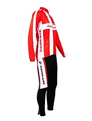 cheap -Customized Cycling Clothing Women's Men's Long Sleeve Cycling Jersey with Tights Denmark National Flag Bike Clothing Suit Thermal Warm Fleece Lining Waterproof Zipper Breathable Reflective Strips