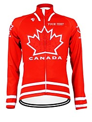 cheap -Customized Cycling Clothing Men's Women's Long Sleeve Cycling Jersey Canada National Flag Bike Jersey Thermal / Warm Fleece Lining Breathable Waterproof Zipper Reflective Strips Winter Polyester