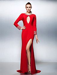 cheap -A-Line Celebrity Style Inspired by Venice Film Festival Keyhole Prom Formal Evening Dress Jewel Neck Long Sleeve Court Train Jersey with Crystals Beading Split Front 2021