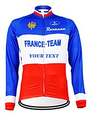 cheap -Customized Cycling Clothing Men's Women's Long Sleeve Cycling Jersey France National Flag Bike Jersey Breathable Waterproof Zipper Reflective Strips Polyester / High Elasticity / Mountain Bike MTB