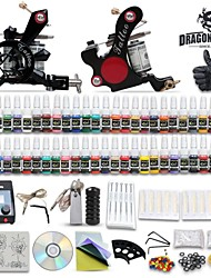 cheap -DragonHawk Tattoo Machine Kits with 2 Stainless Steel  Tattoo Machines and 54 Colors 5ml Tattoo Inks