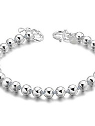 cheap -Women's Bead Bracelet Ladies Unique Design Fashion Sterling Silver Bracelet Jewelry Silver For Wedding Party Daily Casual
