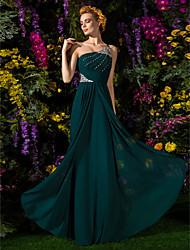 cheap -Sheath / Column Dress One Shoulder Floor Length Chiffon with Criss Cross Beading Draping 2021