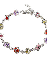 cheap -Women's Cubic Zirconia Tennis Bracelet Unique Design Fashion Sterling Silver Bracelet Jewelry Red / Yellow For Christmas Gifts Daily Casual