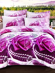 cheap -Duvet Cover Sets 3D Floral Reactive Print Soft and Breathable Bedding Sets/ 4pcs (1 Duvet Cover, 1 Flat Sheet, 2 Shams)
