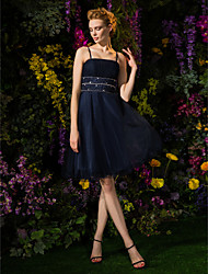cheap -A-Line Cute Homecoming Cocktail Party Dress Spaghetti Strap Sleeveless Knee Length Tulle with Ruched Crystals Beading 2021