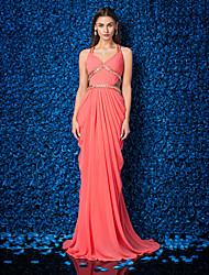 cheap -Sheath / Column Beautiful Back Formal Evening Dress V Neck Sleeveless Sweep / Brush Train Georgette with Criss Cross Beading Side Draping 2021