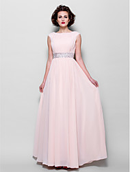 cheap -A-Line Bateau Neck Floor Length Chiffon Mother of the Bride Dress with Beading / Draping / Sash / Ribbon by LAN TING BRIDE®