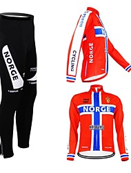 cheap -Customized Cycling Clothing Men's Women's Long Sleeve Cycling Jersey with Tights Norway National Flag Bike Clothing Suit Breathable Waterproof Zipper Reflective Strips Polyester / High Elasticity