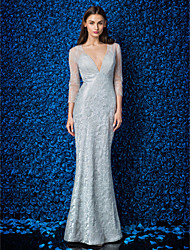cheap -Mermaid / Trumpet Elegant Prom Formal Evening Military Ball Dress V Neck Half Sleeve Ankle Length Lace Tulle Stretch Satin with Lace 2020 / Illusion Sleeve