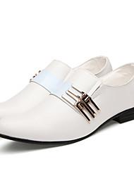 cheap -Men's Dress Shoes Faux Leather Spring / Fall Business Oxfords Slip Resistant Black / White / Brown / Wedding / Rivet / Comfort Shoes / EU40