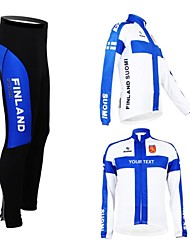 cheap -Customized Cycling Clothing Men's Women's Long Sleeve Cycling Jersey with Tights Finland National Flag Bike Clothing Suit Breathable Waterproof Zipper Reflective Strips Polyester / High Elasticity