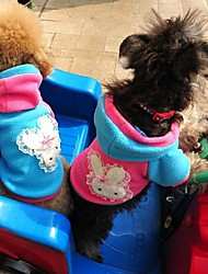 cheap -Cat Dog Hoodie Dog Clothes Bowknot Blue Pink Polar Fleece Costume For Winter Cosplay Wedding