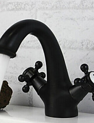 cheap -Bathroom Sink Faucet - Centerset Oil-rubbed Bronze Centerset One Hole / Two Handles One HoleBath Taps