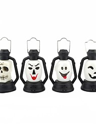 cheap -Halloween Little Colorful Ghost Head Portable Lamp - White + Black (4 PCS)