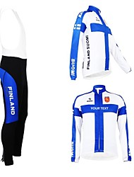 cheap -Customized Cycling Clothing Men's Women's Long Sleeve Cycling Jersey with Bib Tights Finland National Flag Bike Clothing Suit Breathable Waterproof Zipper Reflective Strips Polyester