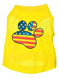 cheap -Cat Dog Shirt / T-Shirt Puppy Clothes American / USA Dog Clothes Puppy Clothes Dog Outfits Breathable Yellow Costume for Girl and Boy Dog Cotton XS S M L