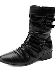 cheap -Men's Comfort Shoes Faux Leather Spring / Fall Boots 25.4-30.48 cm / Mid-Calf Boots Black