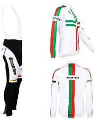 cheap -Customized Cycling Clothing Men's Women's Long Sleeve Cycling Jersey with Bib Tights Portugal National Flag Bike Jersey Bib Tights Clothing Suit Breathable Waterproof Zipper Reflective Strips
