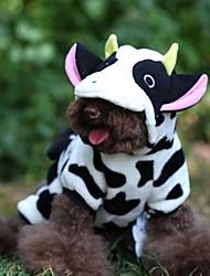cheap -Cat Dog Hoodie Dog Clothes Animal Cartoon Black / White Polar Fleece Costume For Winter Men's Women's Cosplay Wedding