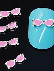 cheap -10pcs pink glasses shape 3d alloy nail art decoration