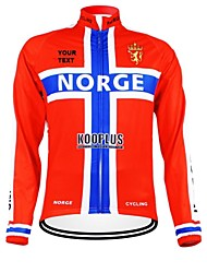 cheap -Customized Cycling Clothing Men's Women's Long Sleeve Cycling Jersey Norway National Flag Bike Jersey Thermal / Warm Fleece Lining Breathable Waterproof Zipper Reflective Strips Winter Polyester