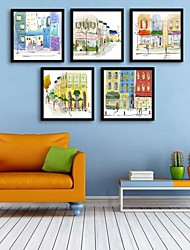 cheap -Framed Canvas Framed Set - Architecture PVC Illustration Wall Art