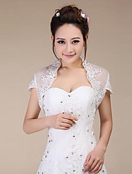 cheap -Short Sleeve Lace Wedding / Party Evening Wedding  Wraps With Sequin Shrugs