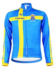 cheap -Customized Cycling Clothing Men's Women's Long Sleeve Cycling Jersey Sweden National Flag Bike Jersey Thermal / Warm Fleece Lining Breathable Waterproof Zipper Reflective Strips Winter Polyester