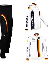 cheap -Customized Cycling Clothing Men's Women's Long Sleeve Cycling Jersey with Tights Germany National Flag Bike Clothing Suit Breathable Waterproof Zipper Reflective Strips Polyester / High Elasticity