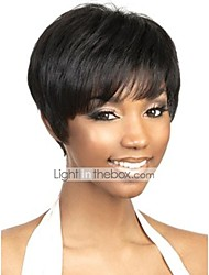 cheap -Human Hair Capless Wig Pixie Cut Short Hairstyles 2019 Rihanna style Brazilian Hair Natural Straight Natural Black Wig Women's Short Human Hair Capless Wigs