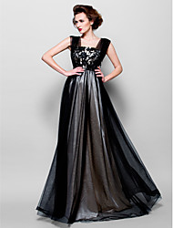 cheap -A-Line Mother of the Bride Dress Color Block Square Neck Floor Length Tulle Sleeveless with Beading Appliques 2021