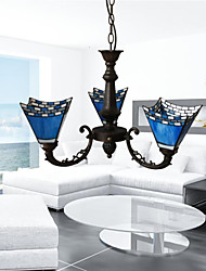cheap -3-Light Candle-style Chandelier Uplight Electroplated Metal Glass Candle Style 110-120V / 220-240V / E26 / E27