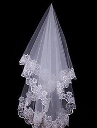 cheap -One-tier Lace Applique Edge Wedding Veil Fingertip Veils / Headpieces with Veil with 59.06 in (150cm) Lace / Tulle