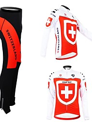 cheap -Customized Cycling Clothing Men's Women's Long Sleeve Cycling Jersey with Tights Switzerland National Flag Bike Clothing Suit Breathable Waterproof Zipper Reflective Strips Polyester