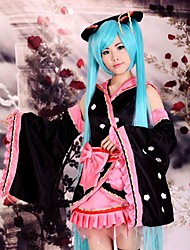 cheap -Inspired by Vocaloid Hatsune Miku Anime Cosplay Costumes Japanese Cosplay Suits Kimono Patchwork Long Sleeve Skirt Headpiece Sleeves For Women's / Kimono Coat / Belt / Bow / Belt / Bow